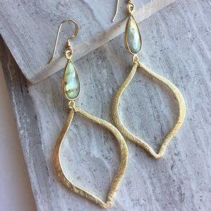14K Gold/Ster. Labradorite gemstone Tulip Earrings
